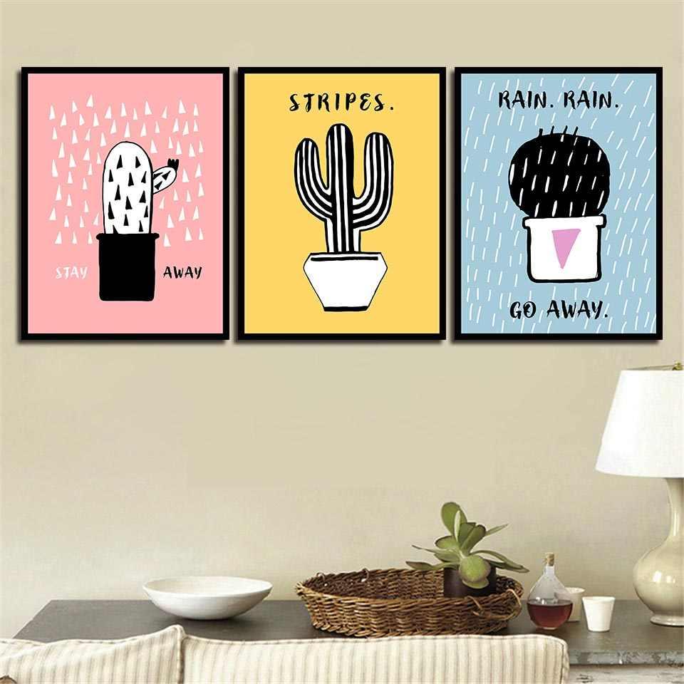 Цвет фон черный кактус фотографии Nordic плакат Современный Печать на холсте картины HD Wall Art для детской комнаты украшения дома