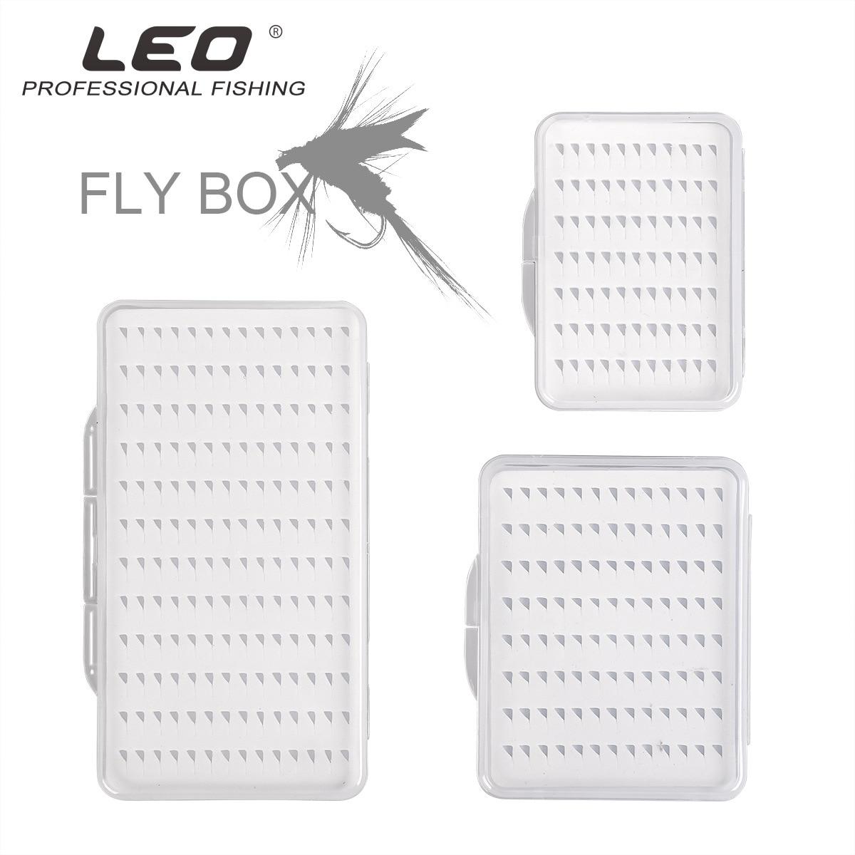 Leo Fly Haken Box 28055 Fly Angelhaken Box Mit Schaum Wasserdicht Haltbare Angeln Getriebe Transparent S M L Größe pesca