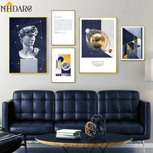 Statue of David Space Geometry Abstract Art Canvas Print Painting Poster Wall Pictures for Living Room Home Decoration Wall Art цена и фото