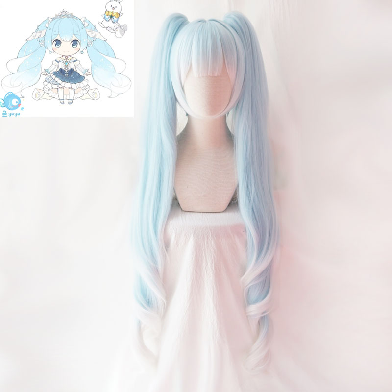 2019 Snow Miku Cosplay VOCALOID Hatsune Miku Hairwear 120cm Long Pigtails Light Blue Synthetic Hair For Adult