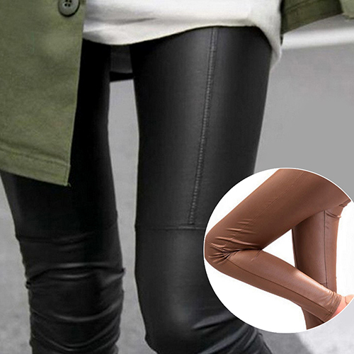 Fashion Women Stretch   Leggings   nny Pants Slim Fit Trousers Faux Leather Jeggings
