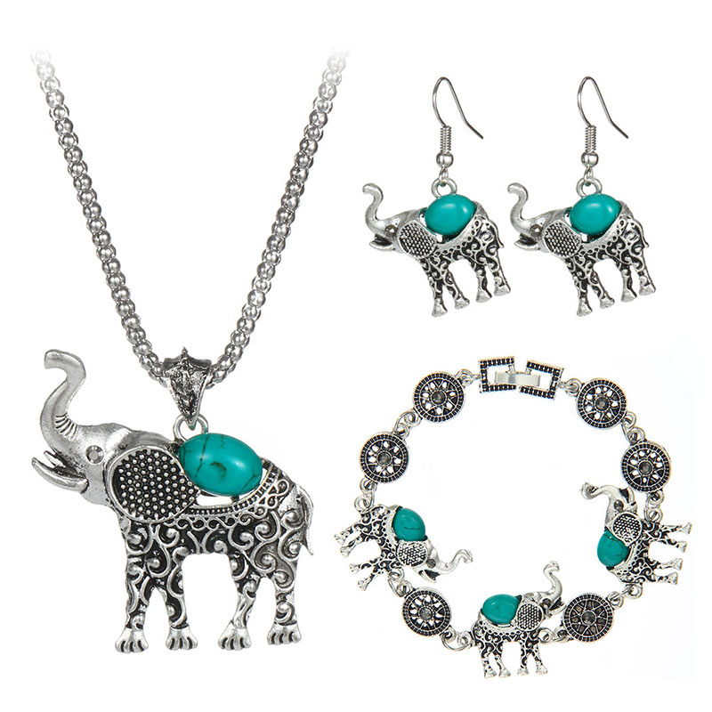 Elephant Necklace And Earrings Sets