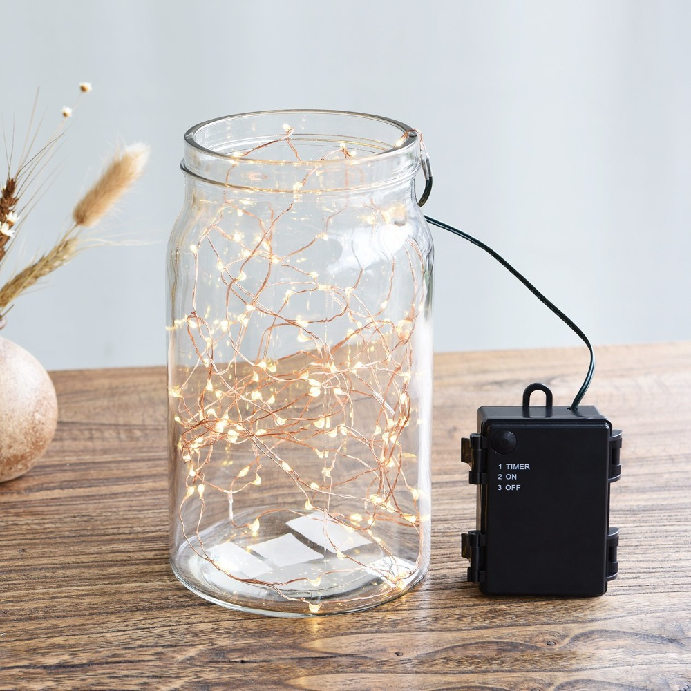 100 LED Waterproof Copper Wire LED String Christmas Lights Battery Fairy Lights Outdoor Starry Light For Wedding Party Dcoration