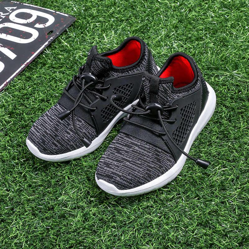 ילדי נעלי תינוק בנות בני ספורט נעלי ילדים נוגד החלקת אפור שחור רך תחתון אופנה לנשימה רשת נעלי ספורט נעליים