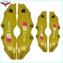 Best price KUNBABY 4 Types Brake Caliper Cover Kit Size S/M/L Yellow Sline Logo Car Styling Decoration For Audi Or Other Car Model