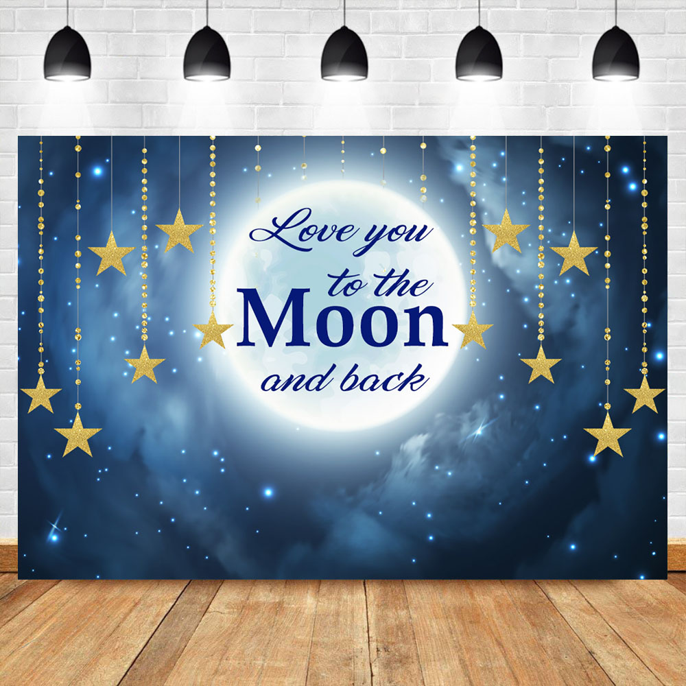 NeoBack Love You to the Moon and Back Backdrop Baby Shower Newborn Twinkle Little Star Backdrops Birthday Background