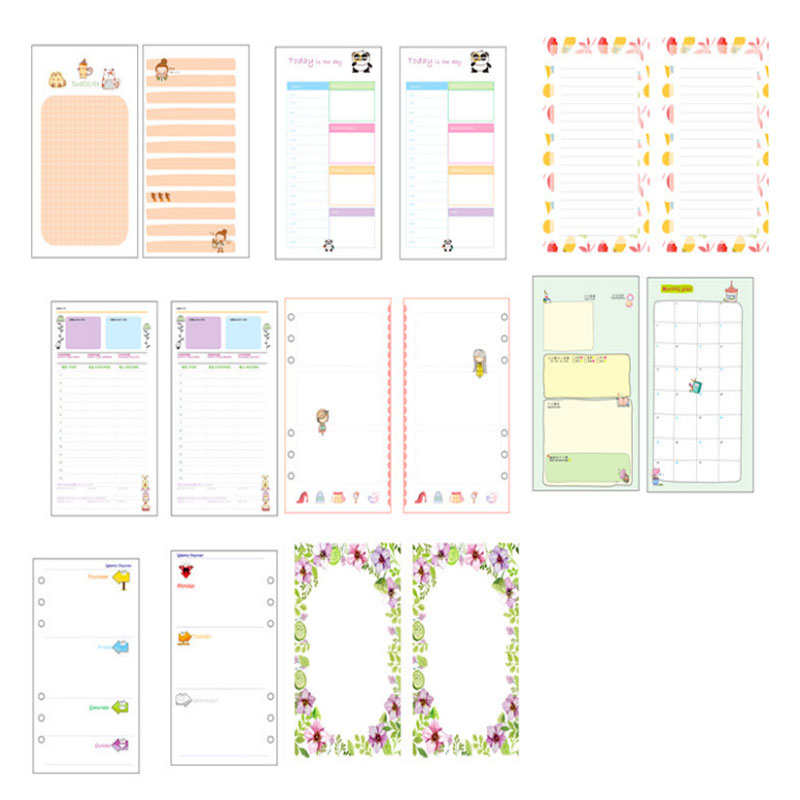 45 sheet/set 2018 New Planner Notebook Refill  Inner Paper Spiral A5 A6 Diary Monthly Weekly Planner Schedule Book For Filofax