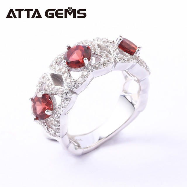 117018420984 Granate Natural anillos de plata esterlina para mujeres aniversario de boda  anillos de plata de piedras