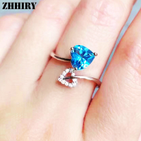 ZHHIRY Genuine Natural Sky Blue Topaz Ring Solid 925 Sterling Silver Women Gemstone Rings Fine Jewelry
