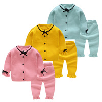 Unisex Baby Sets Autumn Winter Newborn Baby Clothes Single Breasted Knitted Sweater+Pants Infant Baby Boys Girls Clothing Set