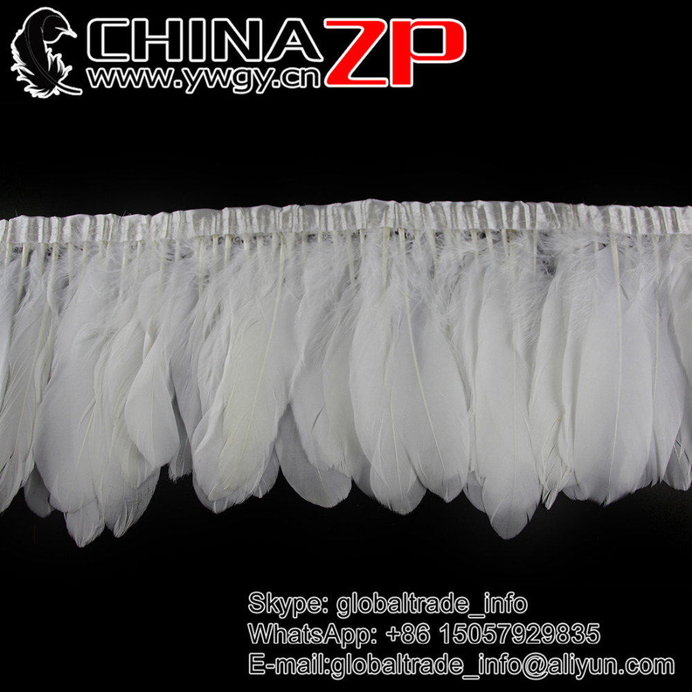 CHINAZP Factory Wholesale Price for per Yard Good Quality Bleached White Goose Feather Fringe Trim for DIY Decorations