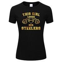 Gildan męska Złoty/Srebrny Folia Ta Dziewczyna Kocha Jej Steelers Koszulka Czarny Kolor