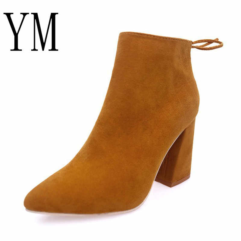 38f70aa42 Желтый/черный из нубука женские ботильоны на весну и зиму острый носок на  шнуровке женские
