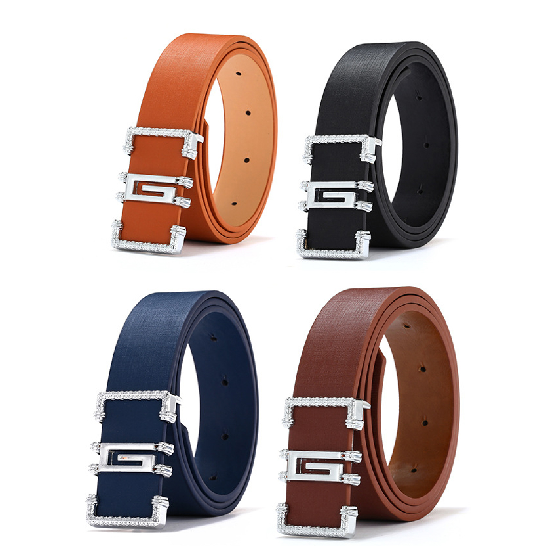 Men/'s Genuine Leather Belts Designer High Quality Smooth Leather Buckle Leisure