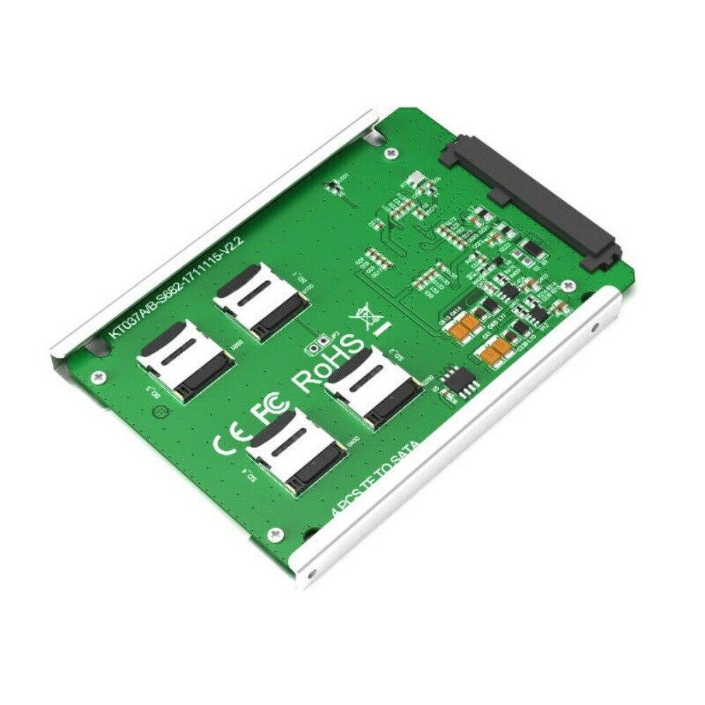 Где купить 4 Micro SD/TF карта на SATA 22pin адаптер RAID Quad TF карта на SATA 2,5 конвертер Micro SD TF карта 22 Pin SATA адаптер конвертер