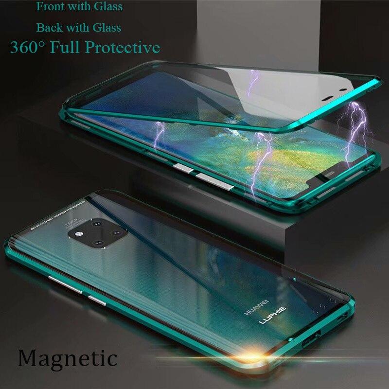 Para huawei mate 20 pro caso magnético 360 frente + traseira dupla face 9 h caso de vidro temperado para huawei companheiro 20 pro metal caso pára-choques