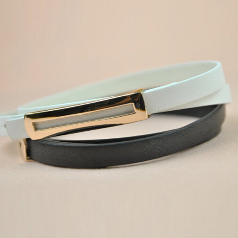 Women PU Leather Skinny Narrow Thin Buckle Waist   Belt   Adjustable Waistband Strap