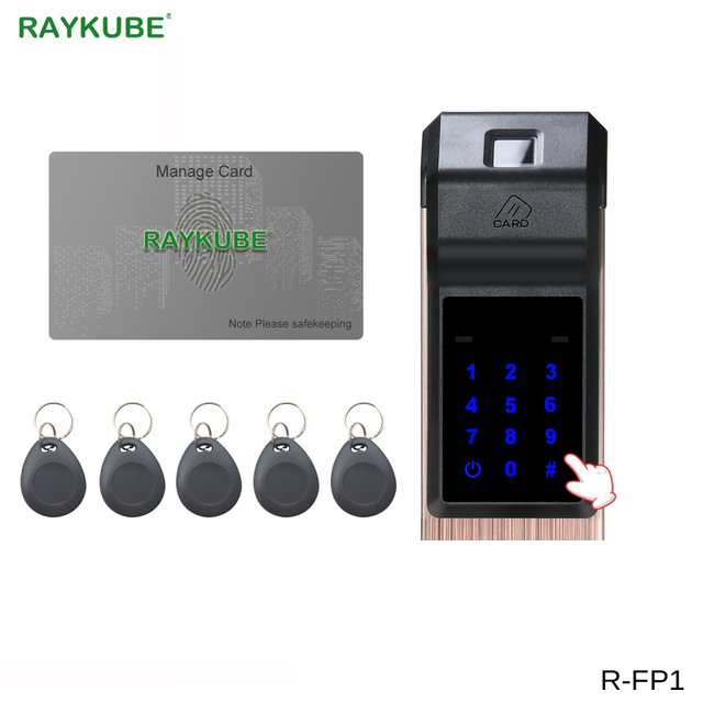 RAYKUBE Biometric Fingerprint Digital Lock Intelligent Electronic Door Lock With Fingerprint Verification & Password&RFID R-FP1
