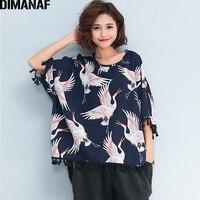 DIMANAF Femmes Plus La Taille T-Shirt D'été Linge Impression Oiseaux Manches Chauve-Souris Casual Gland Tops T-shirts Surdimensionné Femelle Lâche Chemises