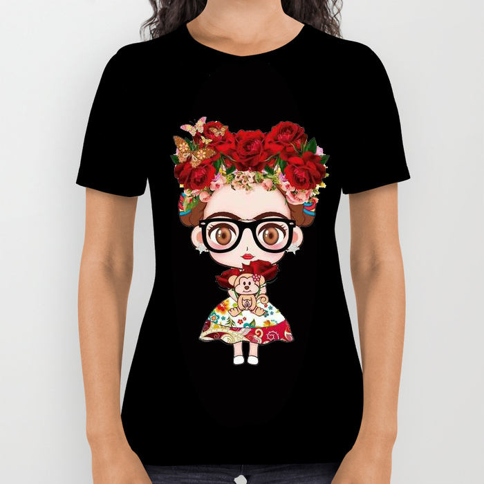 Damesmode katoenen zomer tops leuke cartoon Frida Kahlo patroon Print - Dameskleding