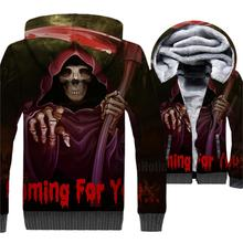 All Saints' Day Jacket Halloween  Hoodie Men Skull Funny Sweatshirt Winter Thick Fleece Warm Zip up 3D Print Coat Swag Sweetwear