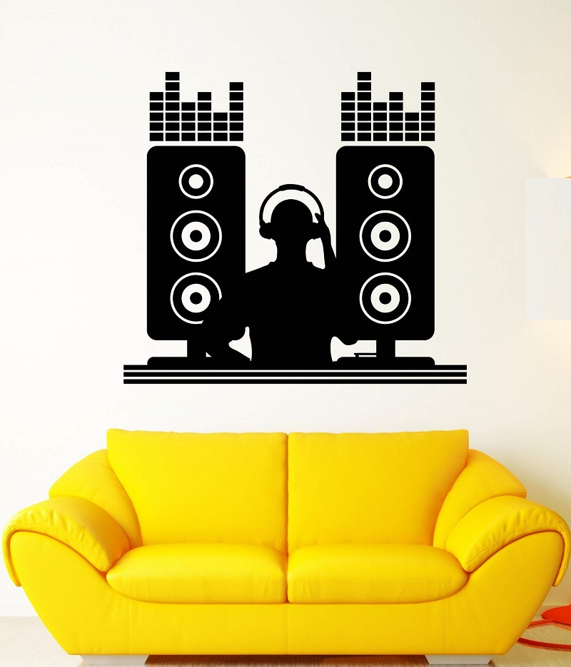 Vinyl wall decal DJ music bar nightclub disc jockey musician sticker poster home art design decoration 2YY10-in Wall Stickers from Home & Garden