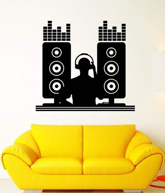 ไวนิล wall decal DJ เพลงบาร์ไนท์คลับ disc jockey นักดนตรีสติกเกอร์โปสเตอร์ home art design ตกแต่ง 2YY10