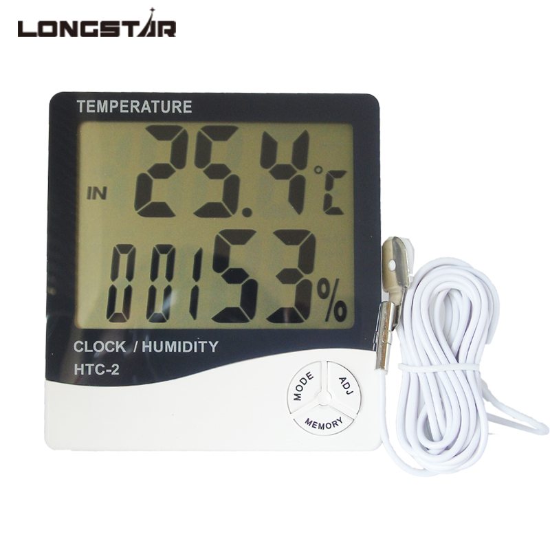 LONGSTAR Digital LCD Thermometer Hygrometer Indoor Room Outdoor Weather Station Alarm Clock Temperature Humidity Meter digital wireless weather station indoor outdoor thermometer temperature humidity w rcc radio controlled clock 2 remote sensor