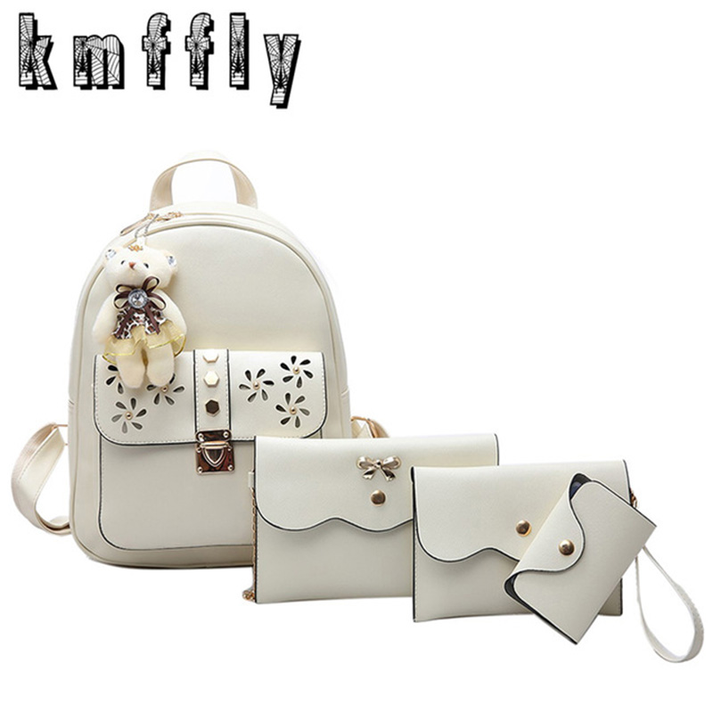 KMFFLY 4Pcs Set Women Backpack High Quality Flower Leather Sac A Main School Bag For Teenagers