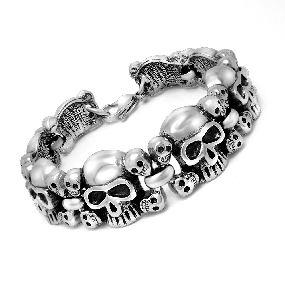 Wholesale Mens Skull Links Chain Bracelet 316L Stainless Steel PUNK Bangle Men's Cool Vintage Jewellery Free Shipping