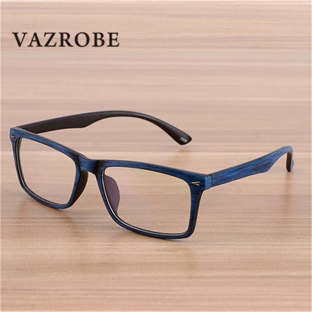 006d7c368f Vazrobe Vintage Wood Grain Glasses Mens Eyeglasses Frame for Man Optical  Lens Square Spectacles for Prescription
