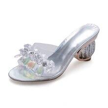 2019 summer New Female Slippers High Heel Sandals Platform Rhinestone Sandalias Mujer Sapato Feminino Women Shoes Slippers Women