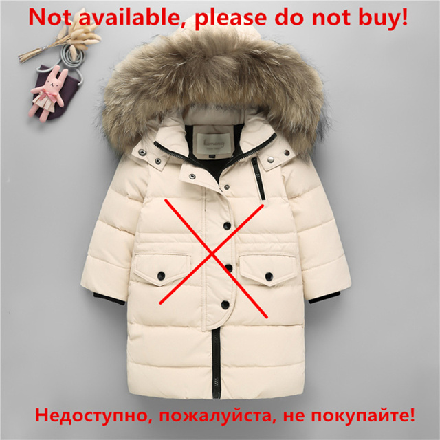 a0181539415674 Children Cold Winter Warm Down Jacket Girls Thickening Boy long parka real  Fur Hooded Outerwear Coats Kids clothing girl clothes