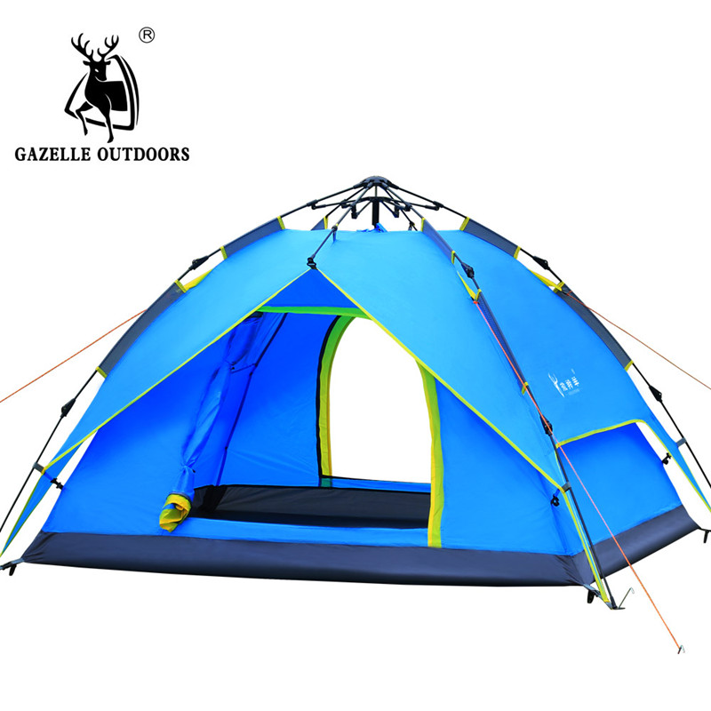 Hydraulic automatic tent outdoor camping supplies 3-4 people double rainproof