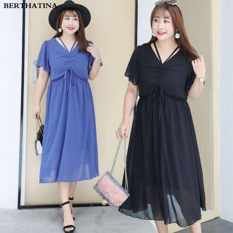 BERTHATINA 2018 Casual Plus Size Summer New Large Size Dress Fashion Drawstring Dress Elegant Temperament V-Neck Fashion Dress