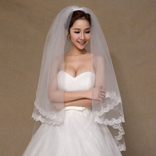 cheap bridal veils for wedding accessories hot sale appliques lace one layer bridal veil white ivory available f375
