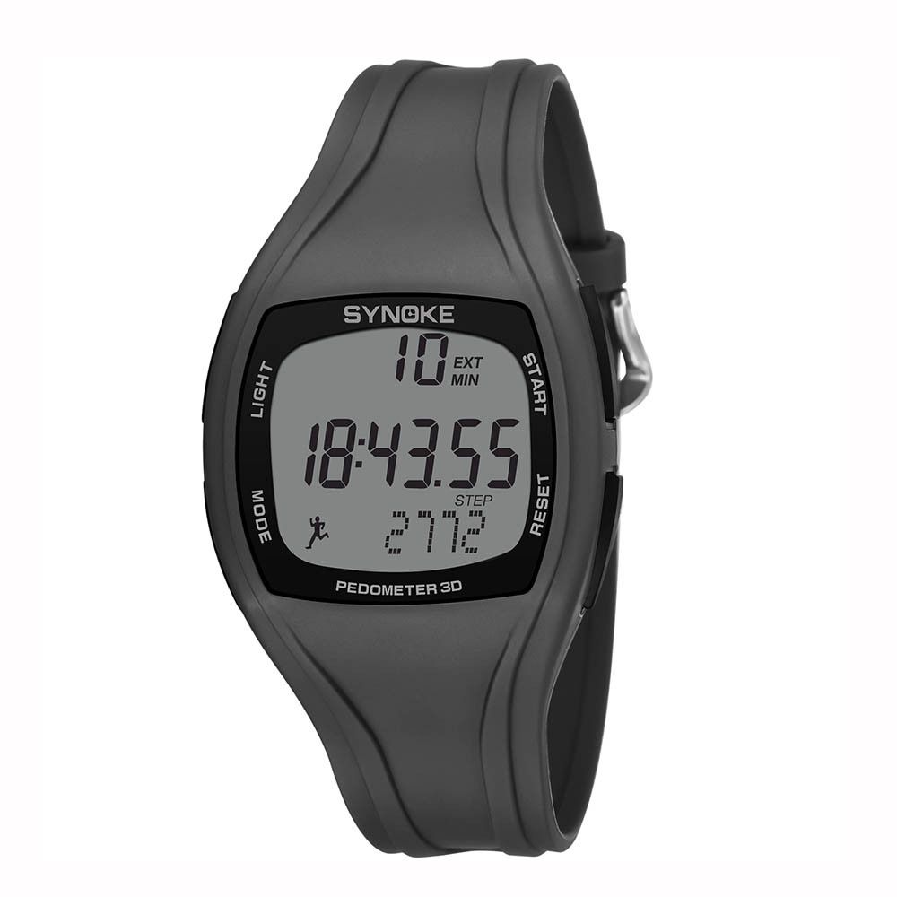 Men Sports Watch Silicone Watchband Calorie Pedometer Second Chronograph Outdoor Watches 50 Waterproof Double Time Wristwatches(China)