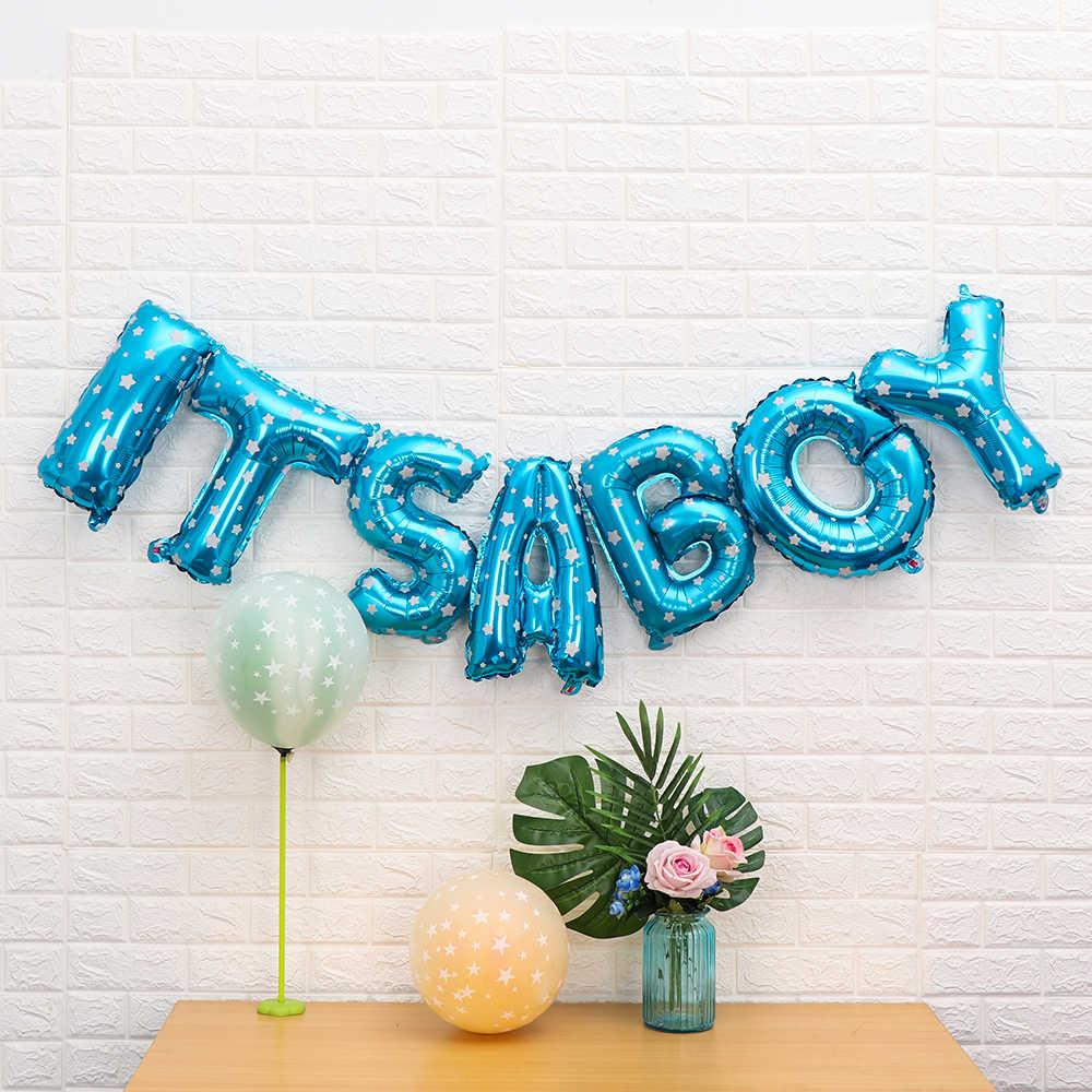"""1 Juego de 16 """"Baby Shower Boy Girl Foil Balloon decoración Oh Baby SET globo banderines foto Props niños inflables de juguete de decoración del partido"""