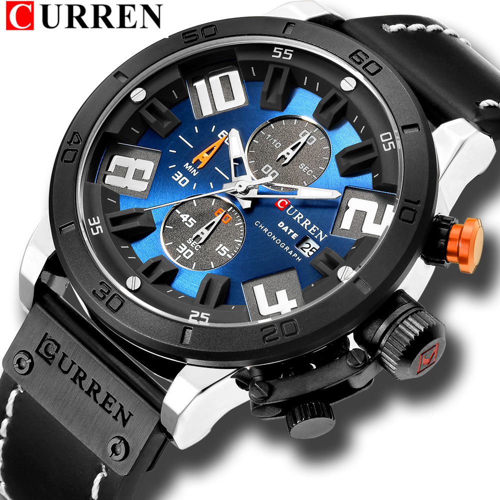 Luxury Mens Watches Fashion Chronograph Quartz Digital Wristwatch CURREN Leather Strap Watch With Waterproof 30M Reloj Hombre ezon fashion mens women digital watches montre waterproof 30m digital dual time stopwatch outdoor sport watch reloj hombre l008
