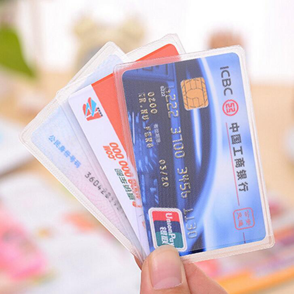 Women 1pcs Transparent ID Card Holder Travel Girl PVC Bus Car Bank Ic Card Men Business Credit Card Cover Card Case