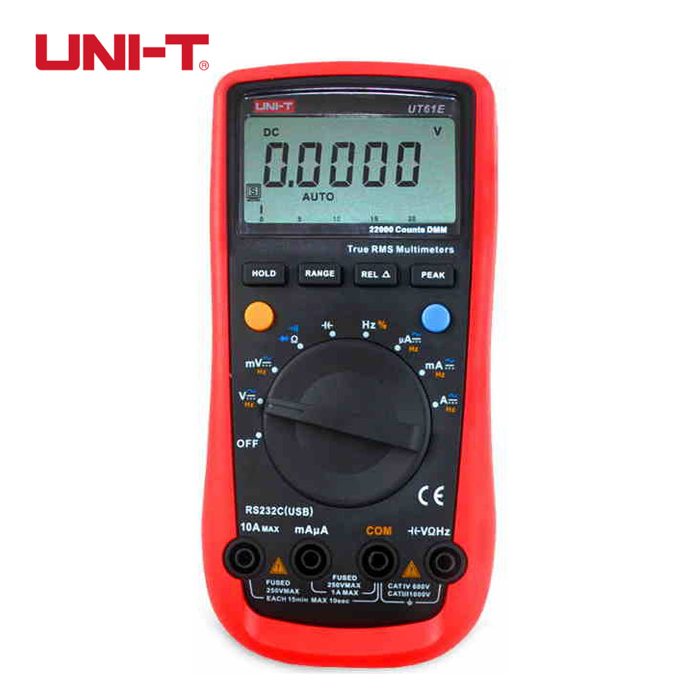 UNI-T UT61E Digital Multimeter auto range true RMS Peak value RS232 REL AC/DC amperemeter uni t UT 61E multimeter цена