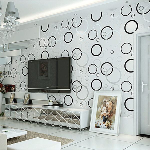3D non-woven wallpaper modern backdrop High Quality Modern Circle Wall Paper For Living Room Bedroom TV Sofa Backgroumd
