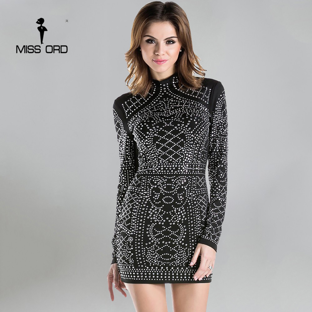 Free Shipping 2018 Sexy Geometric retro Rhinestone high-necked long-sleeved bodycon  tight dress party dress FT2838 ...
