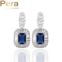 Pera Classic White Gold Color Royal Blue Stone Rectangle Cubic Zirconia Elegant Big Dropping Earrings Jewelry For Women E067