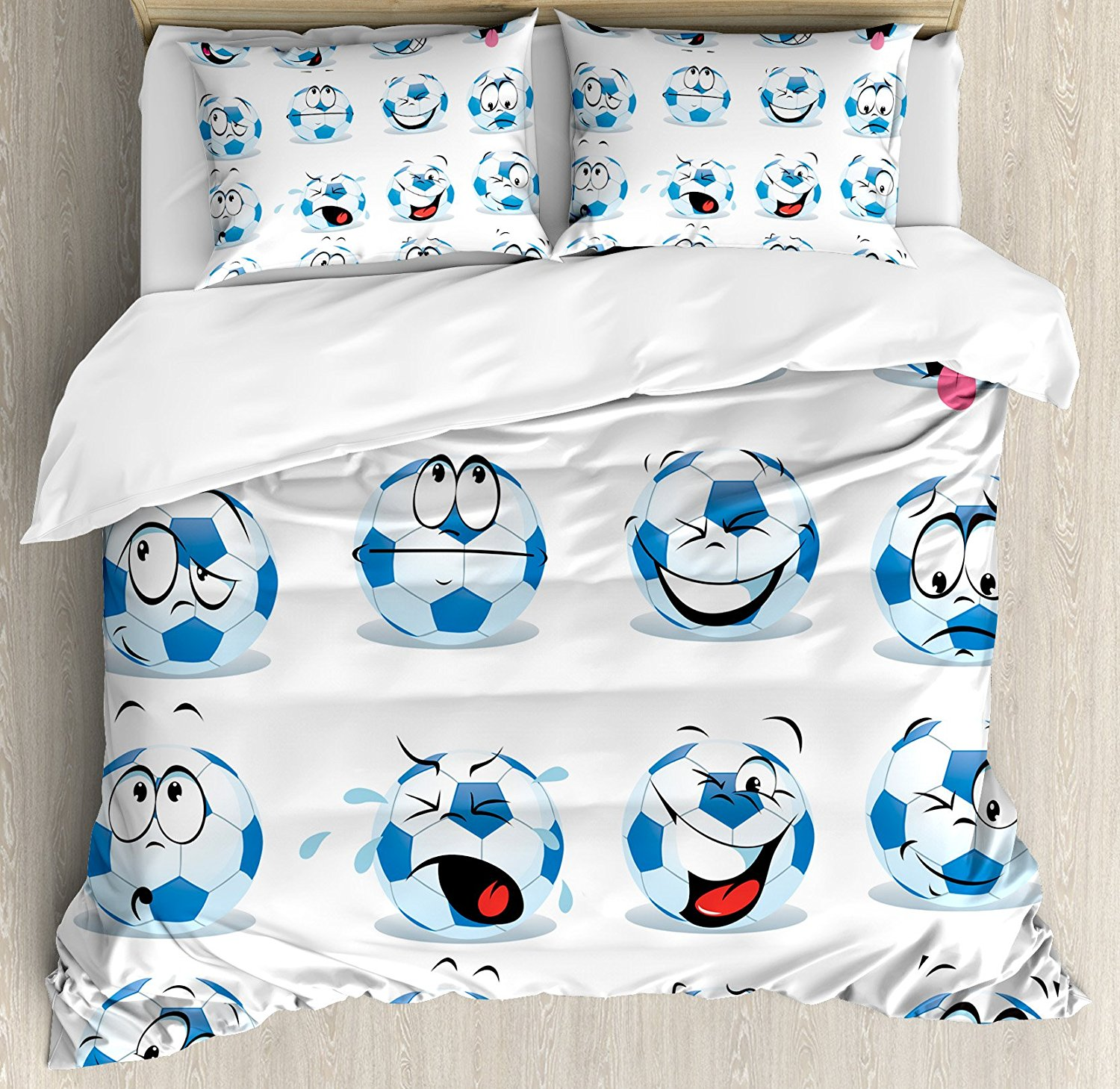 Sports Decor Duvet Cover Set Cartoon Soccer Ball with Many Expressions Bored Laughing Happy Smiley 4 Piece Bedding Set