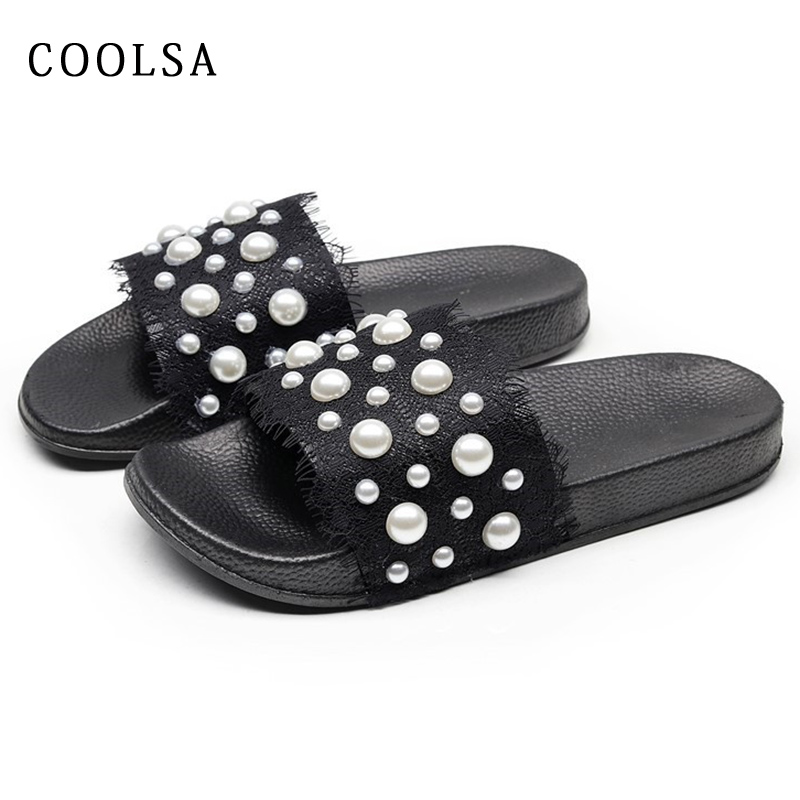 New Women Pearl Slippers Summer Beach Sandals Sexy Lace Designer Slides Comfort Soft Flat Outdoor Home Slipper Casual Beach Shoe