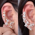 1pc Sweet Punk Butterfly With Crystal Rhinestone Flower Ear Cuff Earring ZB380