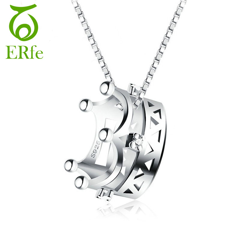 ER Elegant Female Silver Crown Necklace Women Noble Box Chain Necklase Cute Tiny Neck Accessories Colar Feminino SN016