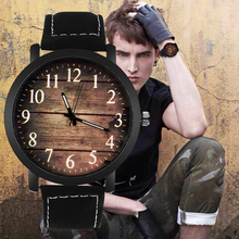 Relogio Masculino Watch Fashion Wood grain dial Casual Leath