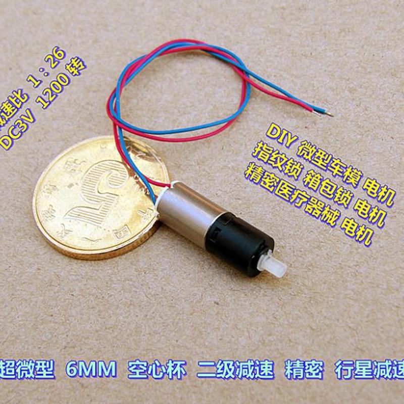 Precision Ultra-miniature 6mm Planetary Geared Motor 3V 1200RPM DIY Car Model CN